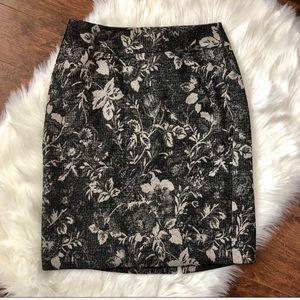 Ann Taylor Metallic Floral Pencil Skirt